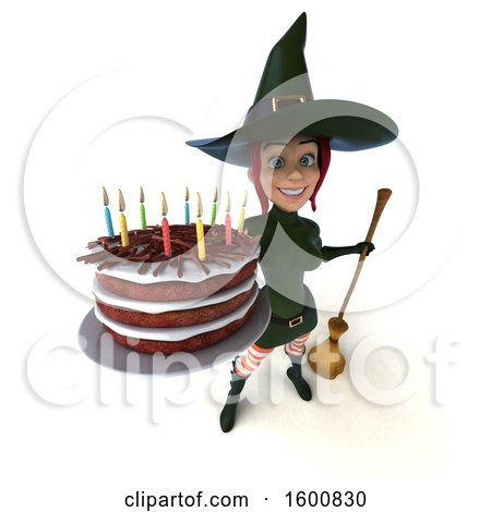 Clipart of a 3d Sexy Green Witch Holding a Birthday Cake, on a White Background - Royalty Free Illustration by Julos
