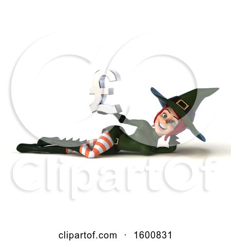 Clipart of a 3d Sexy Green Witch Holding a Pound Currency Symbol, on a White Background - Royalty Free Illustration by Julos