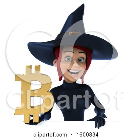 Clipart of a 3d Sexy Blue Witch Holding a Bitcoin Symbol, on a White Background - Royalty Free Illustration by Julos