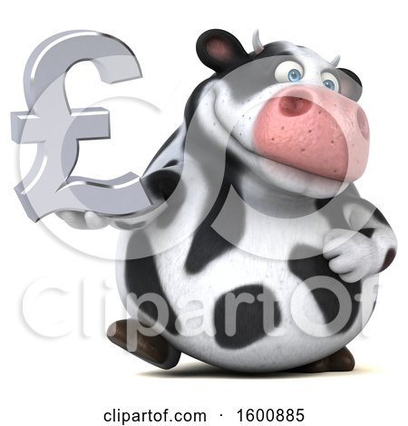 Clipart Of A 3d Holstein Cow Holding A Pound Currency Symbol On A