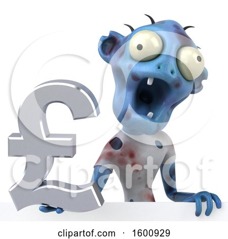 Clipart Of A 3d Blue Zombie Holding A Pound Currency Symbol On A