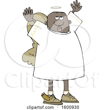 Clipart of a Black Male Angel Looking up and Holding His Arms up - Royalty Free Vector Illustration by djart