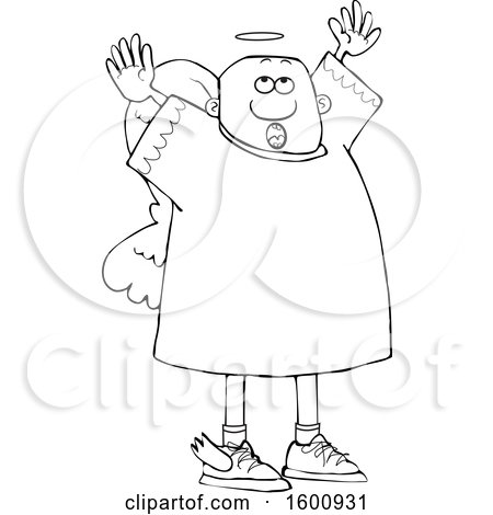 Clipart of a Lineart Black Male Angel Looking up and Holding His Arms up - Royalty Free Vector Illustration by djart