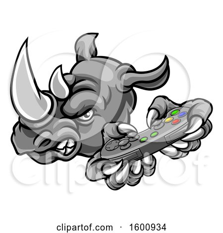 Clipart of a Tough Rhino Monster Mascot Holding a Video Game Controller - Royalty Free Vector Illustration by AtStockIllustration