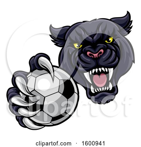 Clipart of a Tough Black Panther Monster Mascot Holding out a Soccer Ball in One Clawed Paw - Royalty Free Vector Illustration by AtStockIllustration