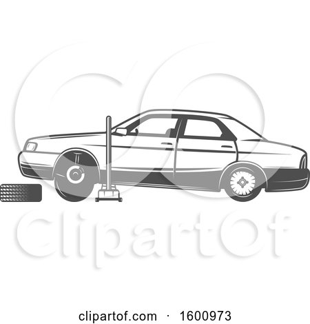 Clipart of a Car Lifted on a Jack, with a Tire Being Replaced - Royalty Free Vector Illustration by Vector Tradition SM