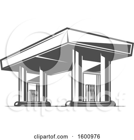 Clipart of a Gas Station - Royalty Free Vector Illustration by Vector Tradition SM