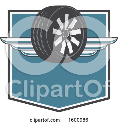 Clipart of a Tire with Wings on a Shield - Royalty Free Vector Illustration by Vector Tradition SM