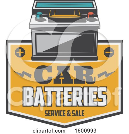 Clipart of a Car Battery over a Frame - Royalty Free Vector Illustration by Vector Tradition SM