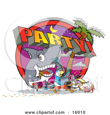 Shark, Parrot, Toucan And Crab Partying On A Tropical Beach Clipart Illustration by Andy Nortnik
