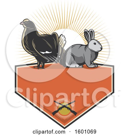 Clipart of a Grouse and Rabbit over a Hunting Frame - Royalty Free Vector Illustration by Vector Tradition SM