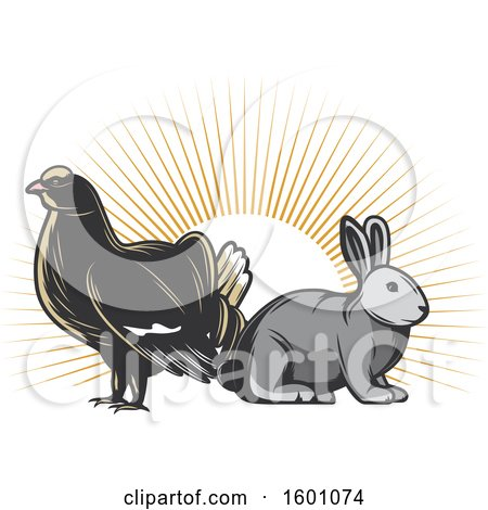 Clipart of a Grouse and Rabbit over Sun Rays - Royalty Free Vector Illustration by Vector Tradition SM