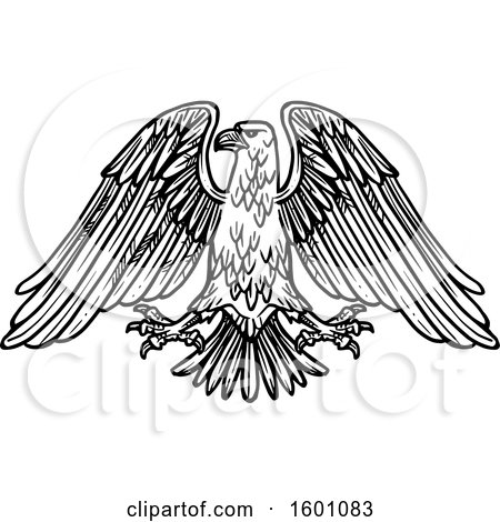 Clipart of a Black and White Heraldic Eagle - Royalty Free Vector Illustration by Vector Tradition SM