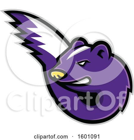 Clipart of a Tough Purple Skunk Mascot - Royalty Free Vector Illustration by patrimonio