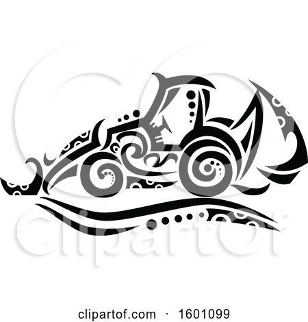 Clipart of a Tribal Black and White Backhoe - Royalty Free Vector Illustration by patrimonio