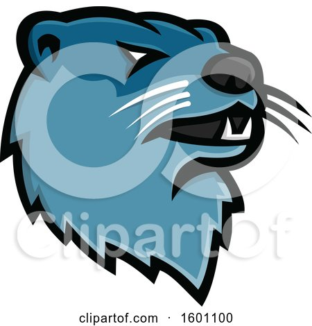 Clipart of a Tough Blue River Otter Mascot - Royalty Free Vector Illustration by patrimonio