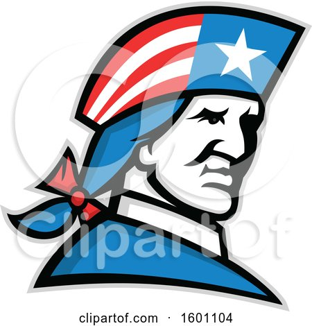 Clipart of a Minuteman American Patriot Soldier - Royalty Free Vector Illustration by patrimonio