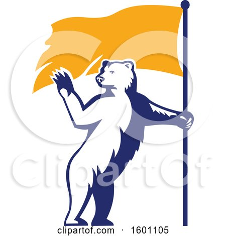 Clipart of a Retro Standing Polar Bear Waving and Holding a Flag - Royalty Free Vector Illustration by patrimonio