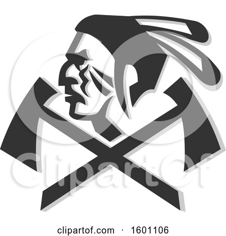 Clipart of a Native American Warrior Face in Profile over Crossed Tomahawks - Royalty Free Vector Illustration by patrimonio
