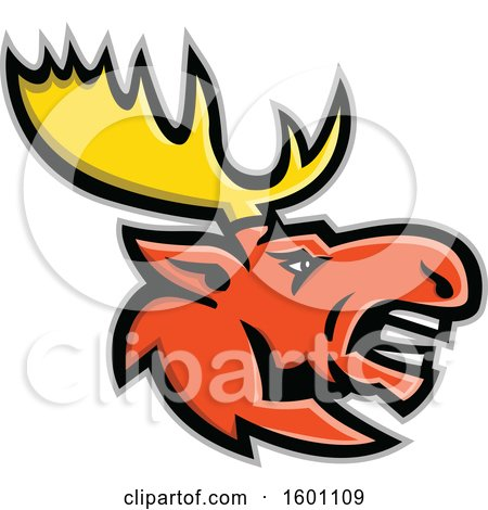 Clipart of a Tough Bull Moose Mascot - Royalty Free Vector Illustration by patrimonio