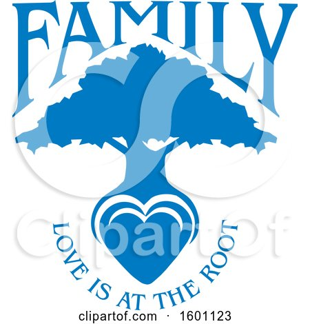 Clipart of a Blue Silhouetted Tree with a Heart and Love Is at the Root Text - Royalty Free Vector Illustration by Johnny Sajem