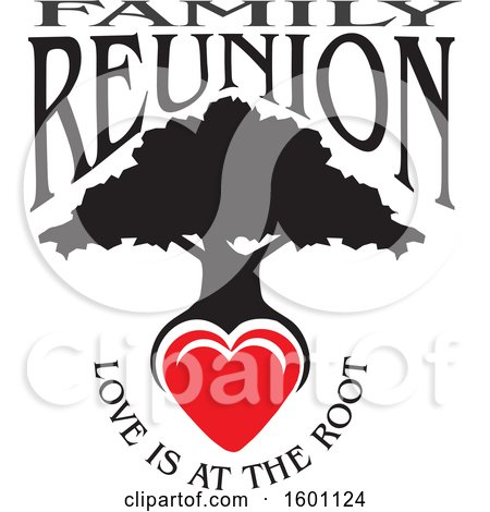 Clipart of a Black Silhouetted Family Reunion Tree with a Heart and Love Is at the Root Text - Royalty Free Vector Illustration by Johnny Sajem