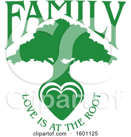 Clipart of a Green Silhouetted Tree with a Heart and Love Is at the Root Text - Royalty Free Vector Illustration by Johnny Sajem