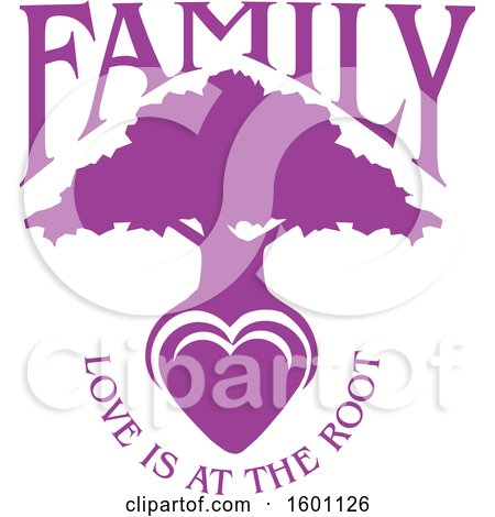 Clipart of a Purple Silhouetted Tree with a Heart and Love Is at the Root Text - Royalty Free Vector Illustration by Johnny Sajem