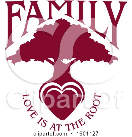 Clipart of a Burgandy Silhouetted Tree with a Heart and Love Is at the Root Text - Royalty Free Vector Illustration by Johnny Sajem
