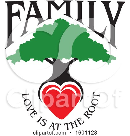 Clipart of a Family Tree with a Heart and Love Is at the Root Text - Royalty Free Vector Illustration by Johnny Sajem