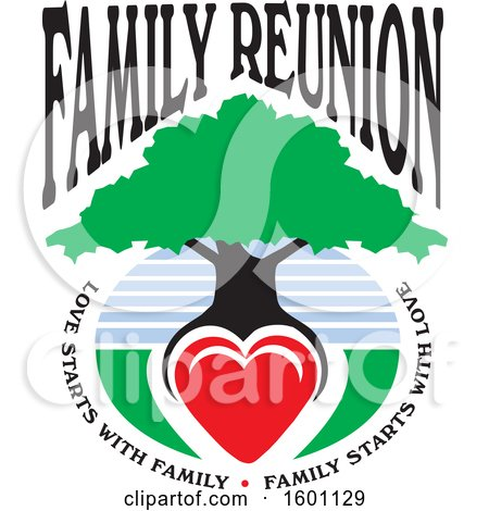 Clipart of a Family Reunion Tree with a Heart As the Roots and Text - Royalty Free Vector Illustration by Johnny Sajem