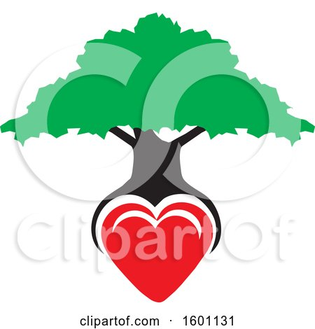 Clipart of a Family Tree with a Heart As the Roots - Royalty Free Vector Illustration by Johnny Sajem