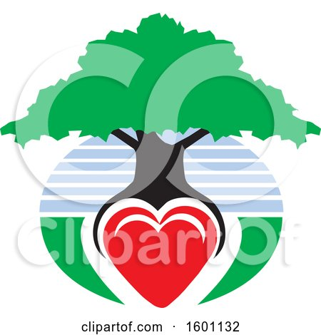 Clipart of a Family Tree with a Heart As the Roots and Sky - Royalty Free Vector Illustration by Johnny Sajem