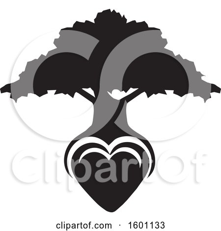 Clipart of a Black and White Silhouetted Tree with a Heart As the Roots - Royalty Free Vector Illustration by Johnny Sajem