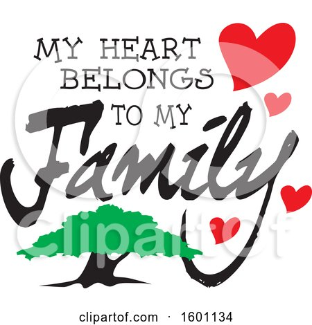 Clipart of a Tree and Hearts with My Heart Belongs to My Family Text - Royalty Free Vector Illustration by Johnny Sajem