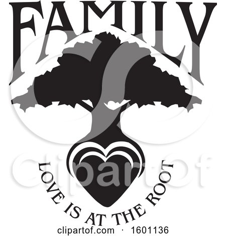 Clipart of a Black and White Silhouetted Tree with a Heart and Love Is at the Root Text - Royalty Free Vector Illustration by Johnny Sajem