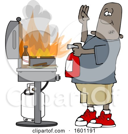 Clipart of a Cartoon Black Man Using a Fire Extinguisher to Put out Flaming Meat Patties on a Bbq Grill - Royalty Free Vector Illustration by djart