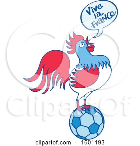 Clipart of a French Rooster Crowing Vive La France and Standing on a Football - Royalty Free Vector Illustration by Zooco