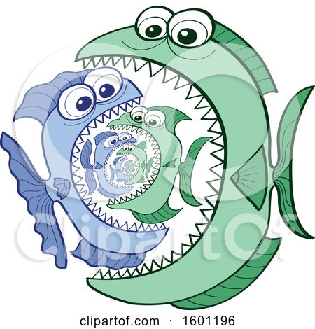 Clipart of a Cartoon Fish Food Chain of One Eating Another - Royalty Free Vector Illustration by Zooco