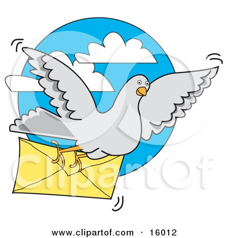 Gray Pigeon Carrying A Letter In An Envelope Clipart Illustration by Andy Nortnik