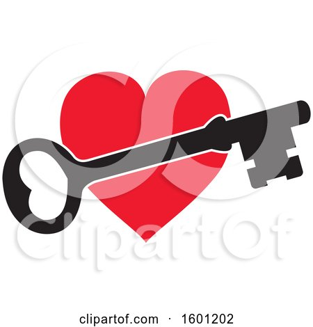 Clipart of a Red Heart with a Skeleton Key - Royalty Free Vector Illustration by Johnny Sajem