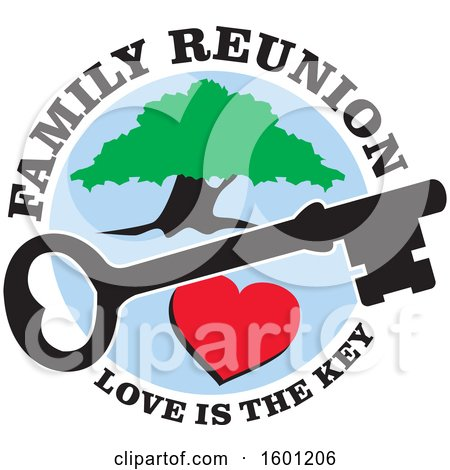 Clipart of a Heart Skeleton Key and Tree with Family Reunion Love Is the Key Text - Royalty Free Vector Illustration by Johnny Sajem