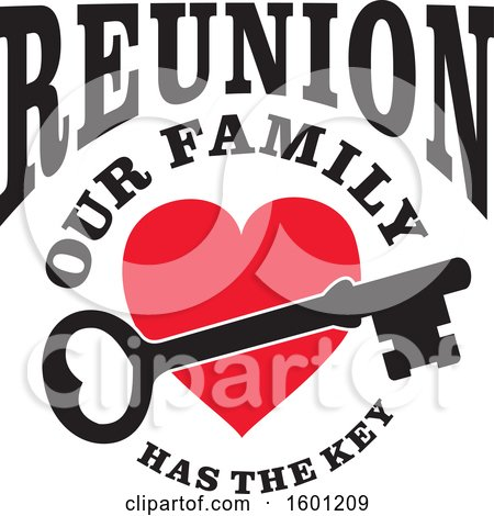 Clipart of a Skeleton Key over a Red Heart with Reunion Our Family Has the Key Text - Royalty Free Vector Illustration by Johnny Sajem