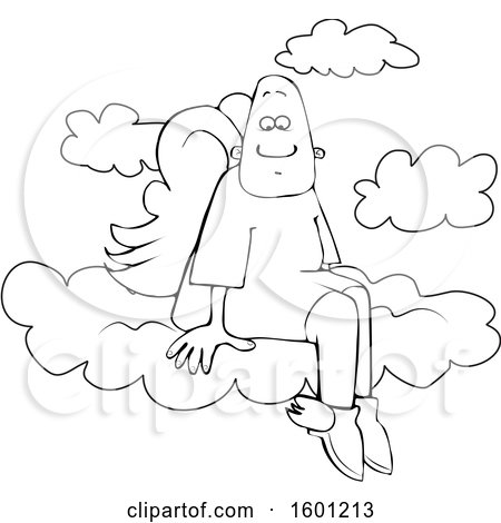 Clipart of a Cartoon Lineart Black Male Angel Sitting on the Clouds of Heaven - Royalty Free Vector Illustration by djart