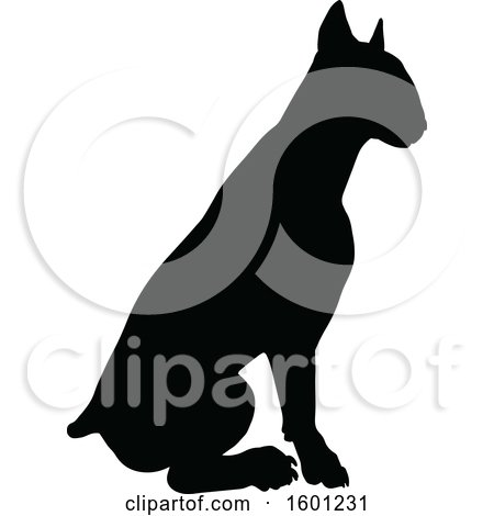 Clipart of a Silhouetted Sitting Bull Terrier Dog - Royalty Free Vector Illustration by AtStockIllustration