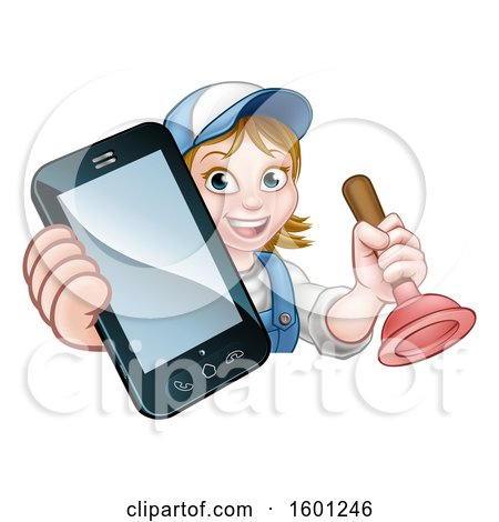 Clipart of a Happy White Female Plumber Holding a Plunger and Cell Phone over a Sign - Royalty Free Vector Illustration by AtStockIllustration