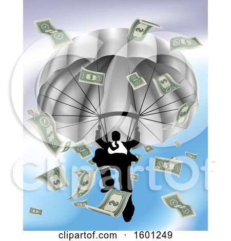 Clipart of a Silhouetted Business Man Parachuting, with Cash Money - Royalty Free Vector Illustration by AtStockIllustration