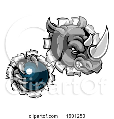 Clipart of a Tough Rhino Monster Mascot Holding a Bowling Ball in One Clawed Paw and Breaking Through a Wall - Royalty Free Vector Illustration by AtStockIllustration