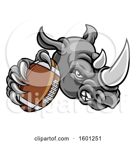 Clipart of a Tough Rhino Monster Mascot Holding out an American Football in One Clawed Paw - Royalty Free Vector Illustration by AtStockIllustration