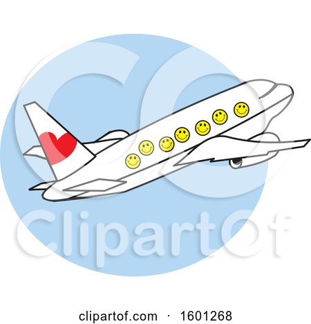Clipart Of A Cartoon Airplane With Happy Faces Over A Blue Circle
